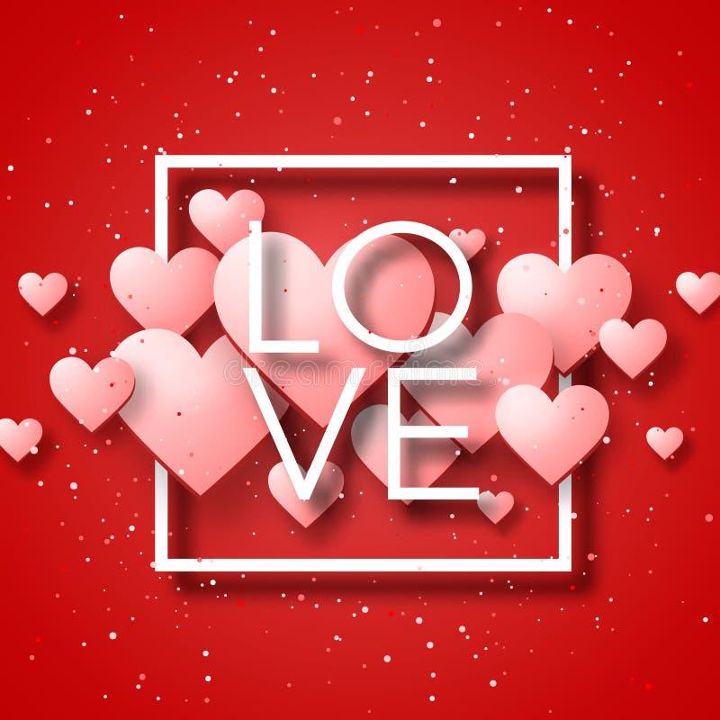愉快的情人节和除草设计元素 也corel凹道例证向量 与装饰品,心脏的桃红色背景 乱画和卷毛 免版税库存图片