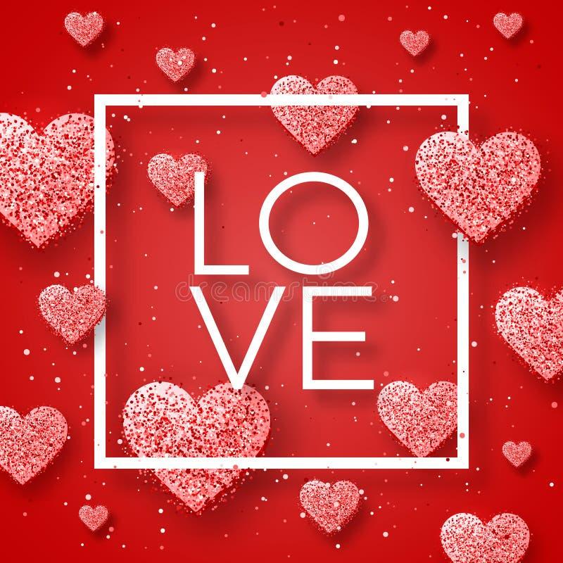 愉快的情人节和除草设计元素 也corel凹道例证向量 与装饰品,心脏的桃红色背景 乱画和卷毛 免版税图库摄影