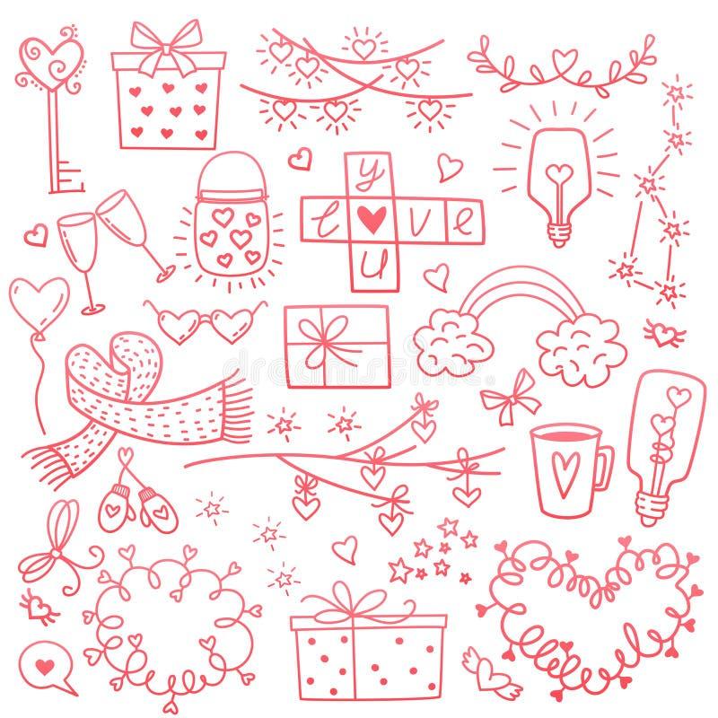 愉快的情人节和除草设计元素 也corel凹道例证向量 与装饰品,心脏的桃红色背景 乱画 库存例证