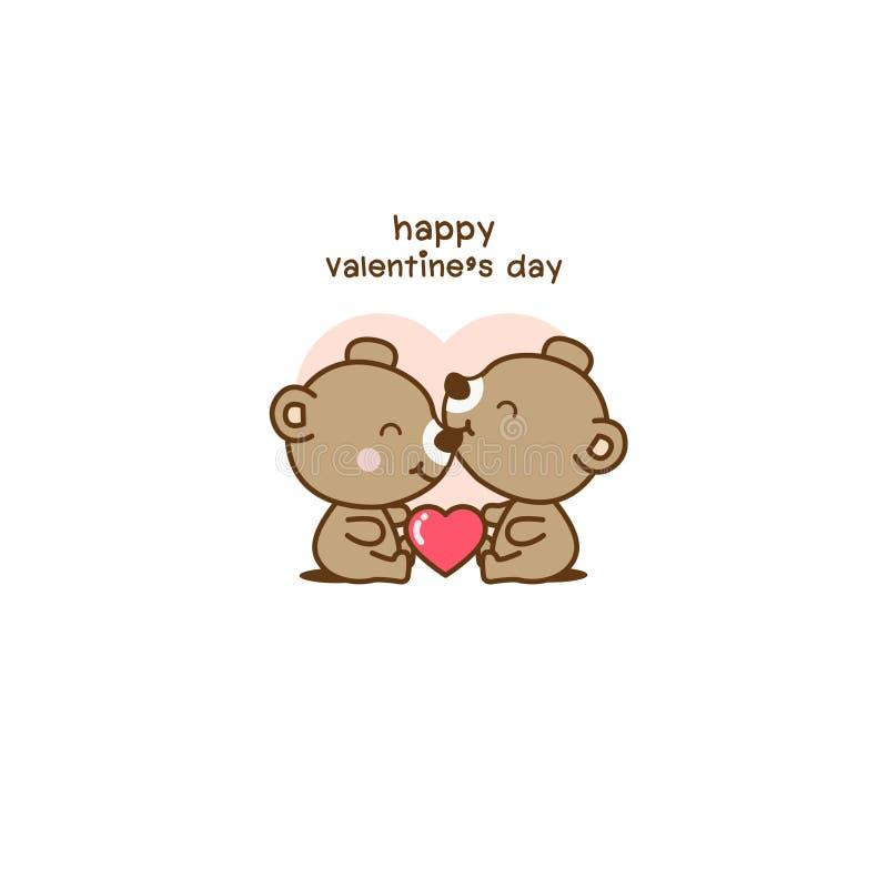 愉快的情人节夫妇爱熊动画片 库存例证