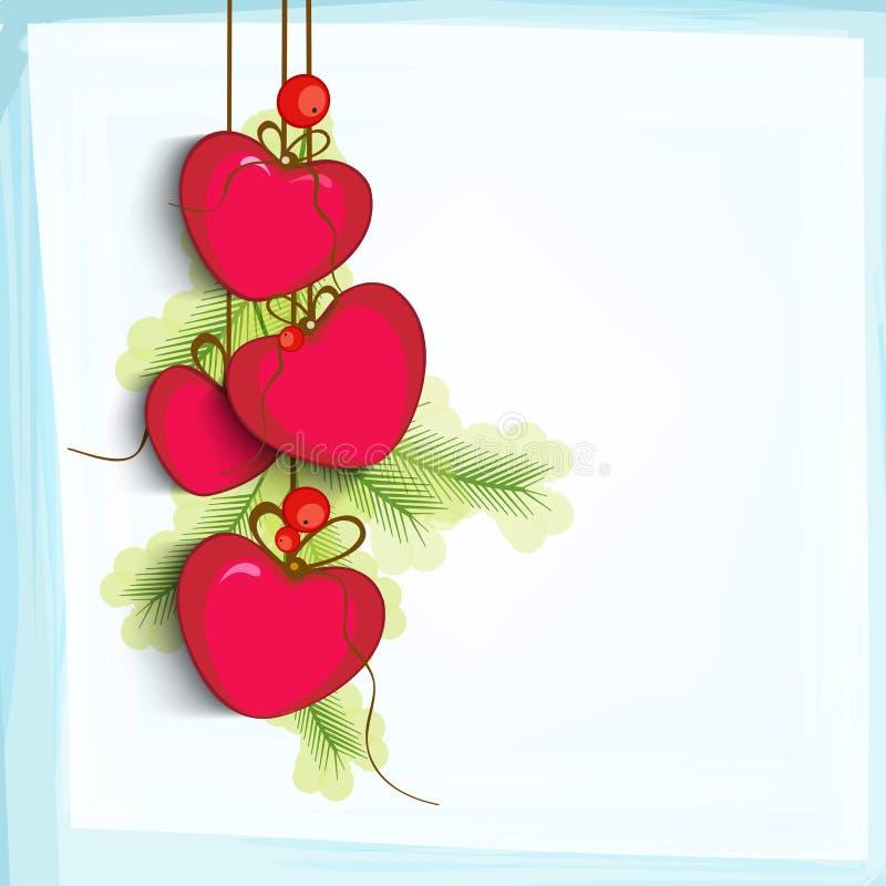 愉快的情人节庆祝的红色心脏 皇族释放例证