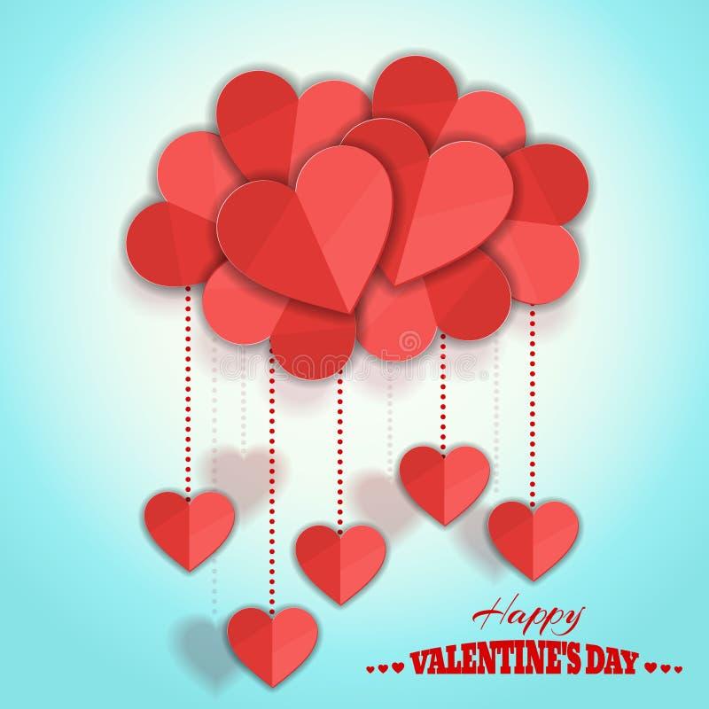 愉快的情人节心脏云彩 假日传染媒介设计 库存例证
