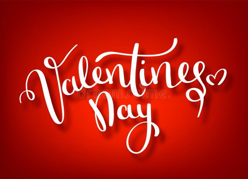 愉快的情人节手图画传染媒介书信设计 情人节传染媒介手写的文本贺卡 红色 向量例证
