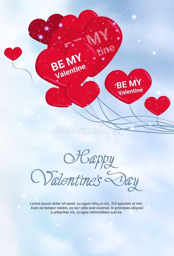 愉快的情人节模板贺卡或海报与手拉的字法和心脏形状气球 向量例证