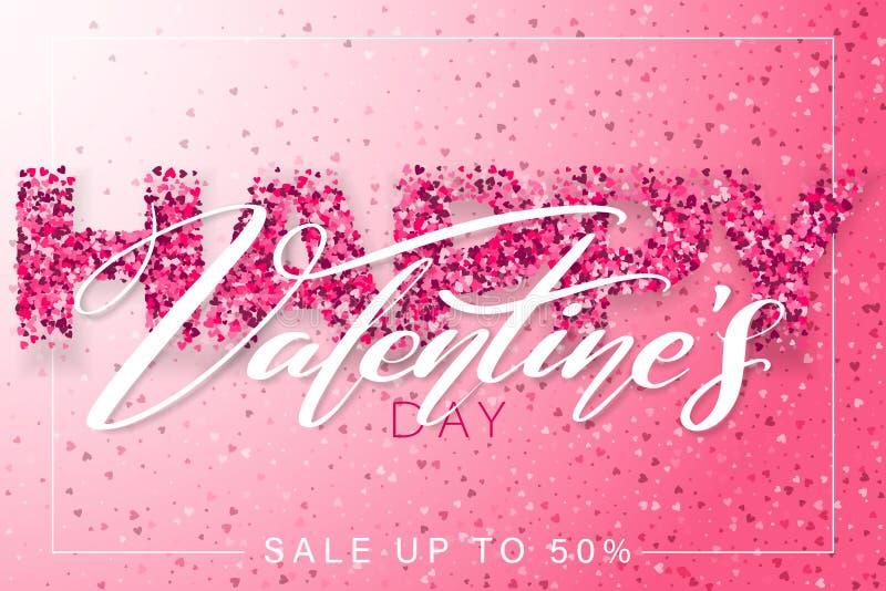 愉快的情人节水平的横幅设计 2月14日 与小心脏的粉色浪漫模板 皇族释放例证