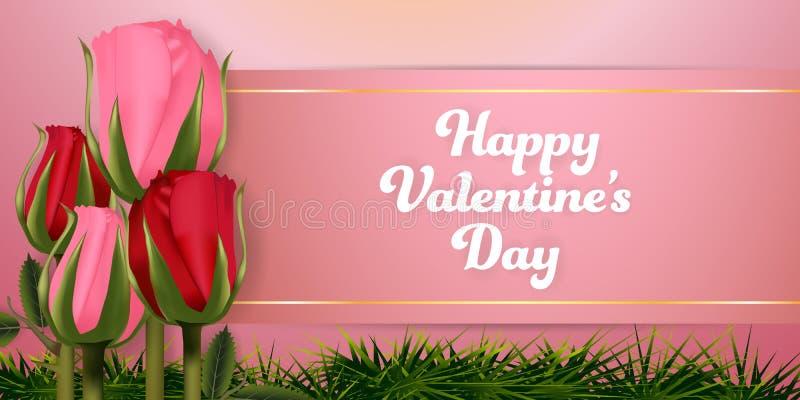 愉快的情人节玫瑰背景横幅集合 墙纸,邀请,海报,小册子 皇族释放例证