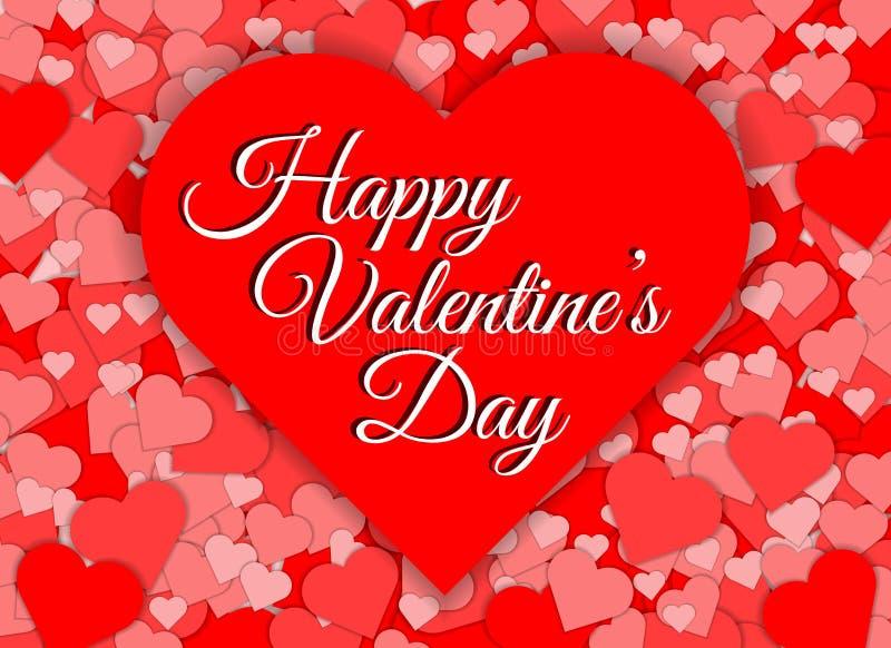 愉快的情人节红色心脏形状摘要背景 免版税图库摄影