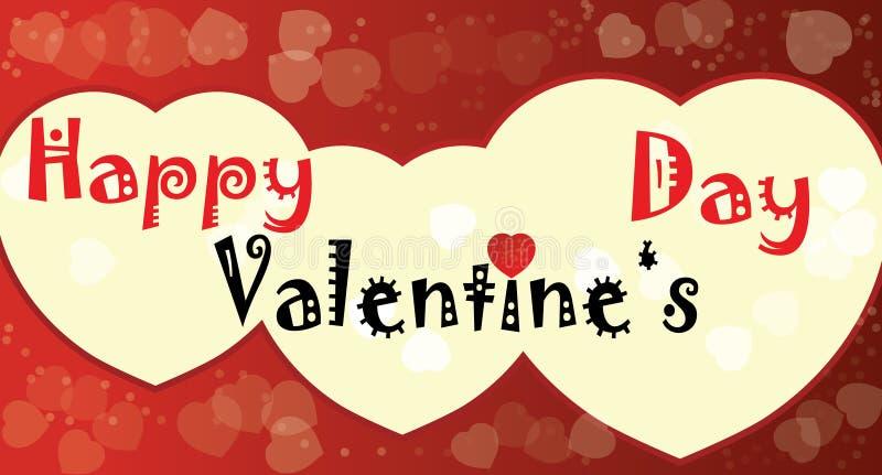 愉快的情人节红色心脏 免版税库存图片