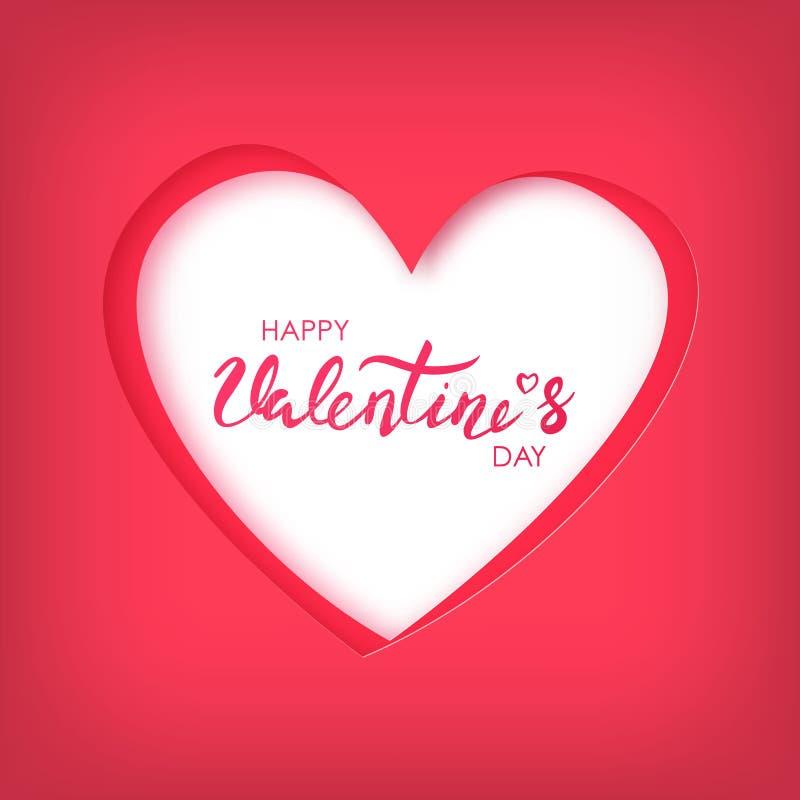 愉快的情人节纸艺术在红色心脏的 向量例证