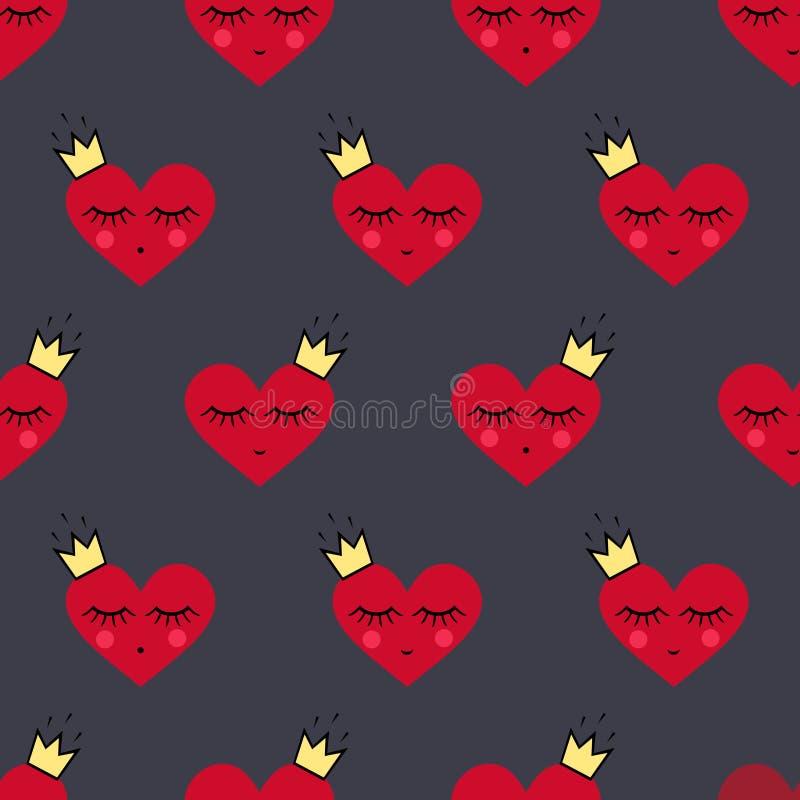 愉快的情人节背景 与微笑的睡觉心脏的无缝的样式为情人节 皇族释放例证