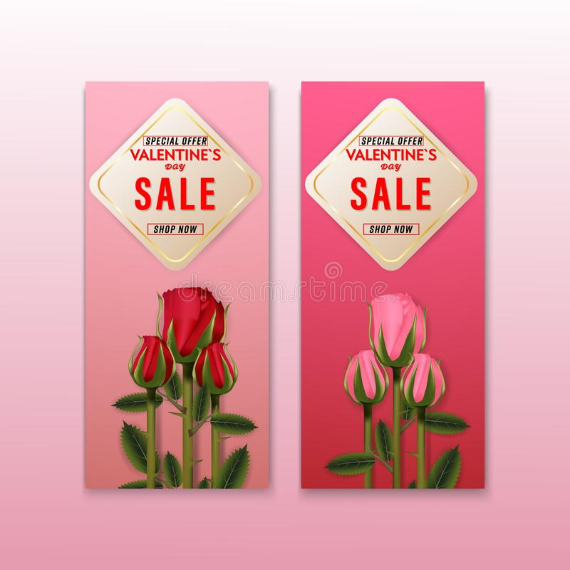 愉快的情人节销售玫瑰花背景横幅集合卡片 墙纸,邀请,海报,小册子 向量例证