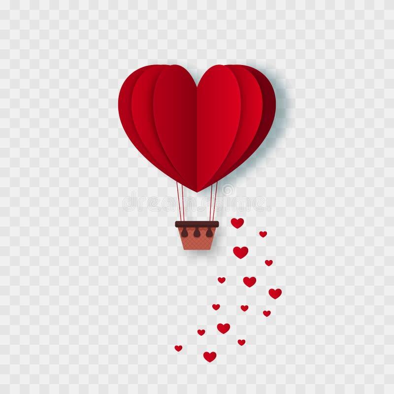 愉快的情人节飞行的心脏 纸被切开的红心形状热空气气球 查出 向量 皇族释放例证