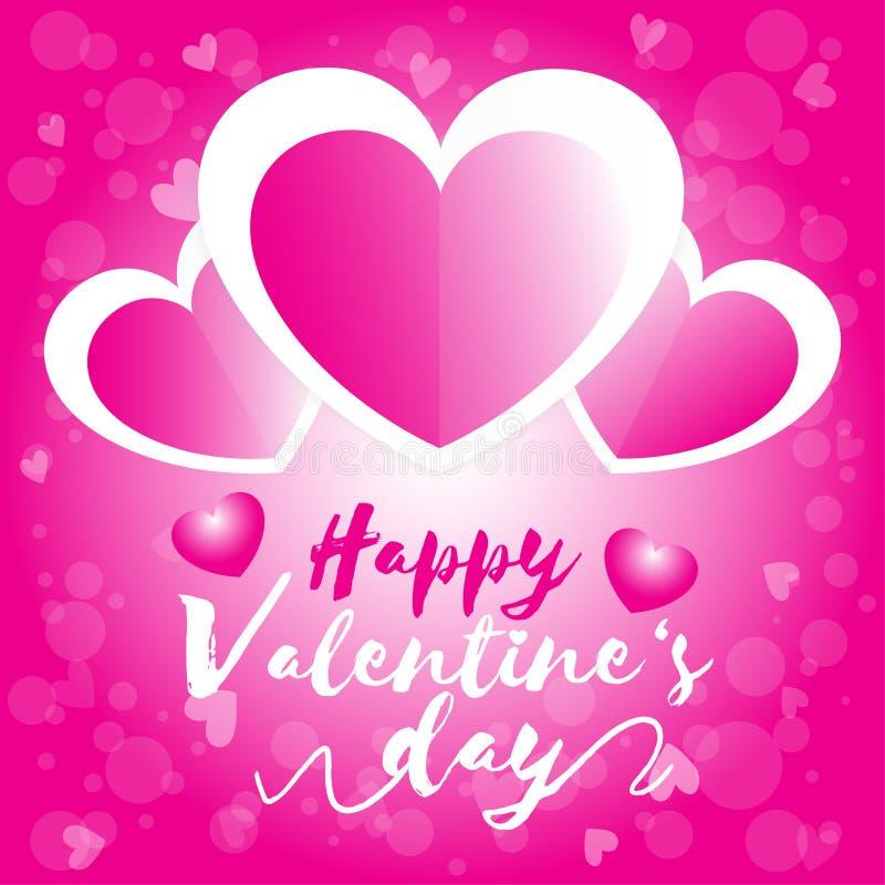 愉快的情人节,情人节三心脏白色和桃红色有桃红色bokeh背景 皇族释放例证