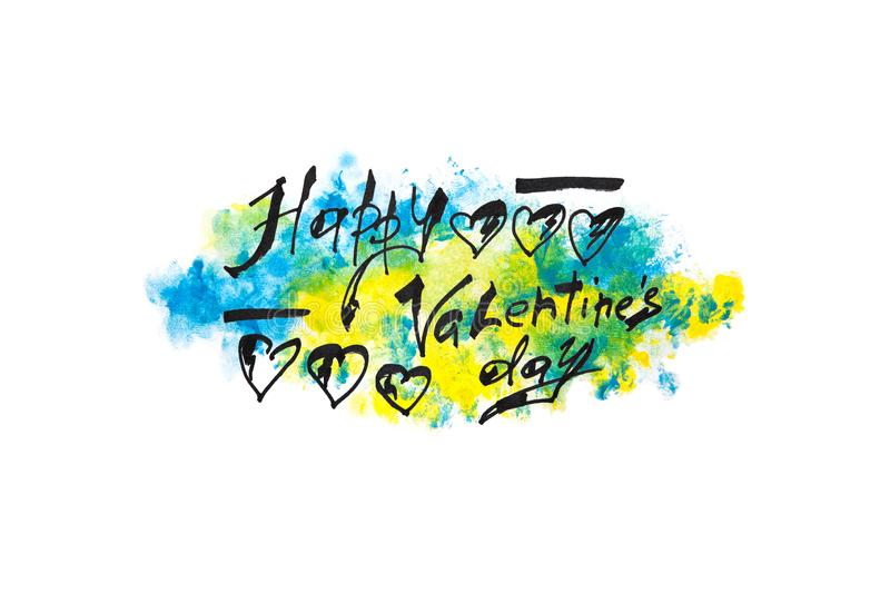 愉快的情人节-在蓝色和黄色水彩绘的背景的书法文本 库存图片