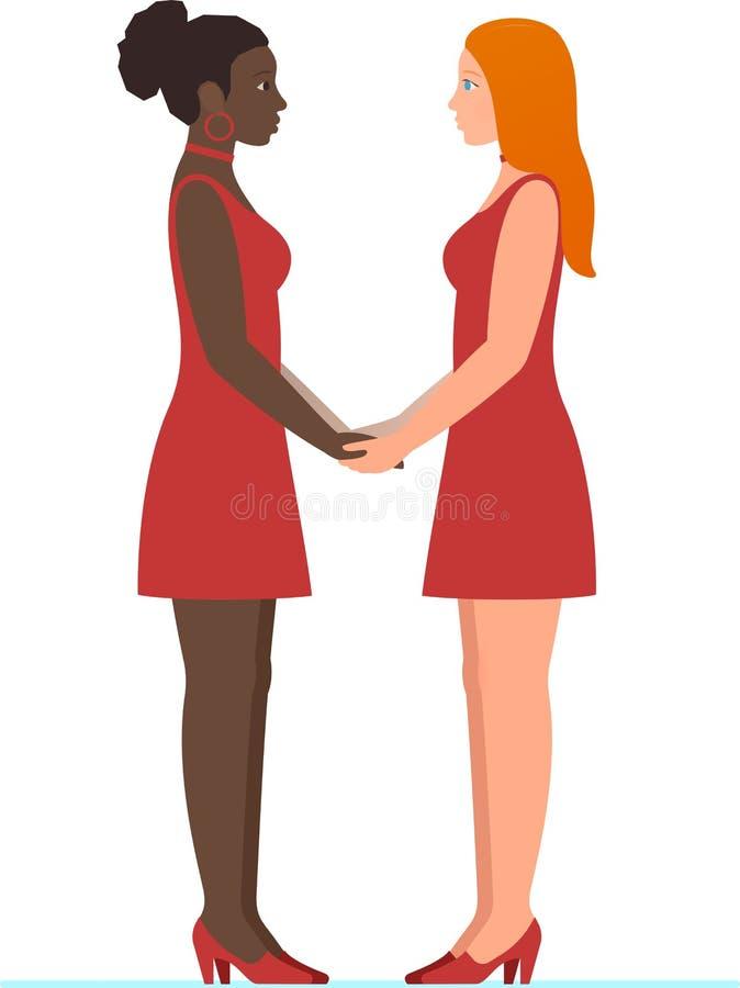 愉快的情人节2月14日 美国黑人的女孩和白红头发人女孩,在爱的一对女同性恋的多种族夫妇 库存例证