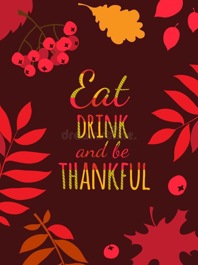 愉快的感恩天印刷术海报 吃,饮料并且是感激的 库存例证