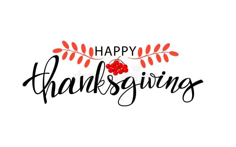 愉快的感恩天手拉的字法 贺卡和海报的设计 与秋叶的感恩 向量例证