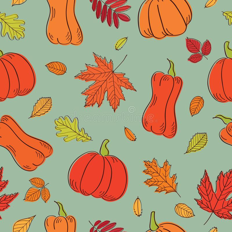 愉快的感恩日背景 与秋叶和南瓜的无缝的样式纺织品、墙纸、缎带包装和scrapb的 皇族释放例证