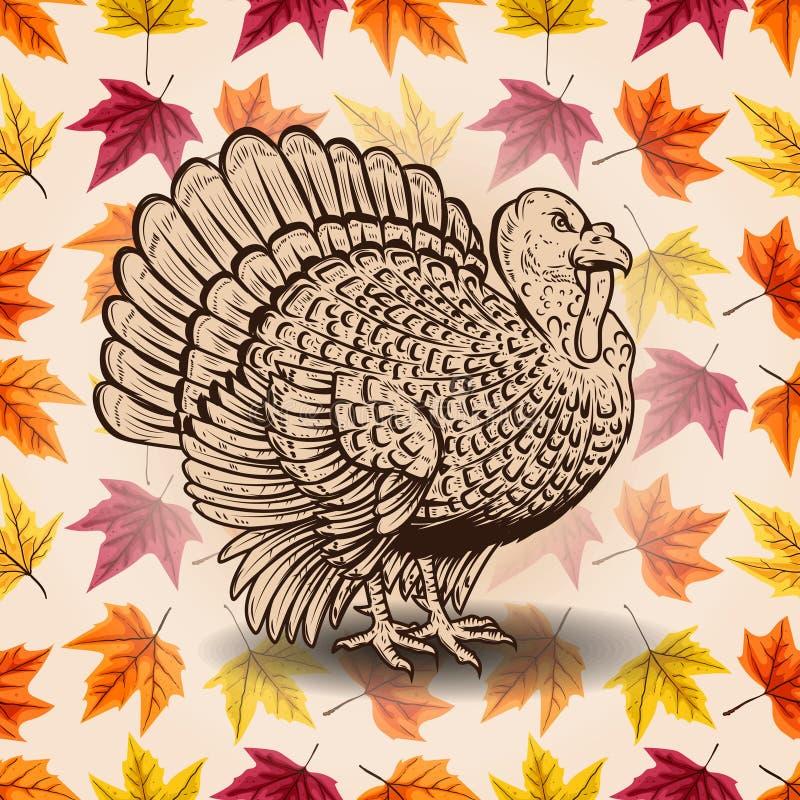 愉快的感恩 在背景的手拉的字法与叶子和火鸡剪影 设计海报的,卡片,横幅元素 向量例证