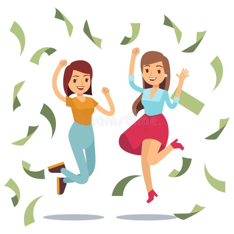 愉快的成功的housewifes在金钱雨中 愉快的跳跃的妇女和金钱 库存例证