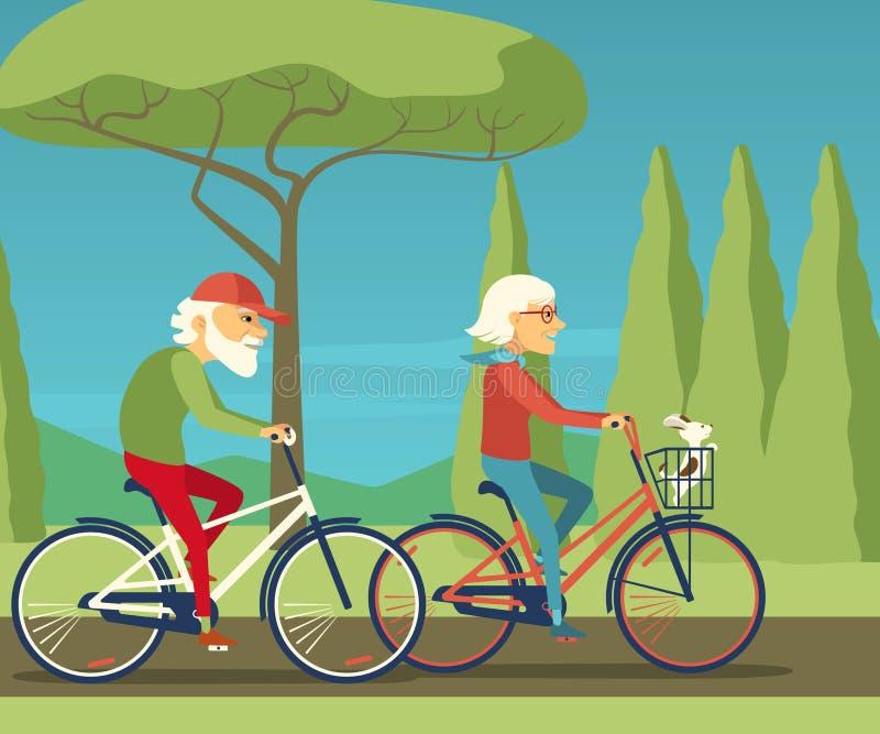 愉快的成熟夫妇去的一起骑自行车在乡下乡区 库存例证