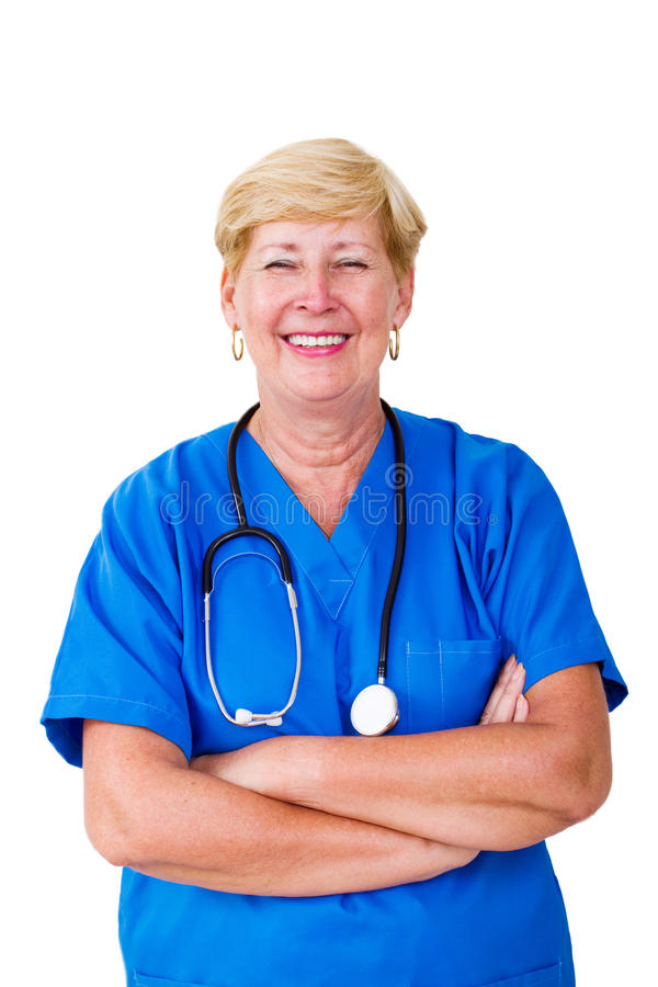 愉快的护士前辈 免版税图库摄影