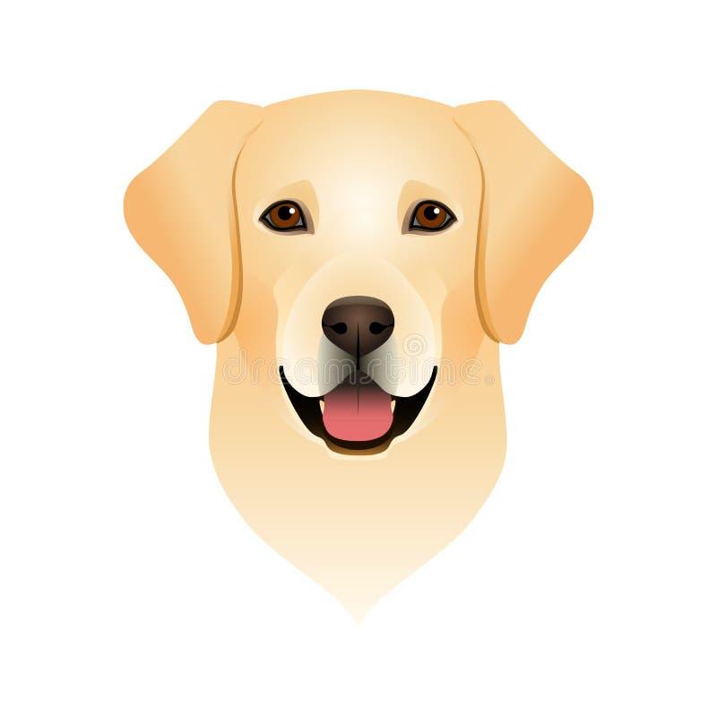 愉快的拉布拉多猎犬的被隔绝的五颜六色的头和面孔在白色背景的 颜色平的动画片品种狗画象 向量例证
