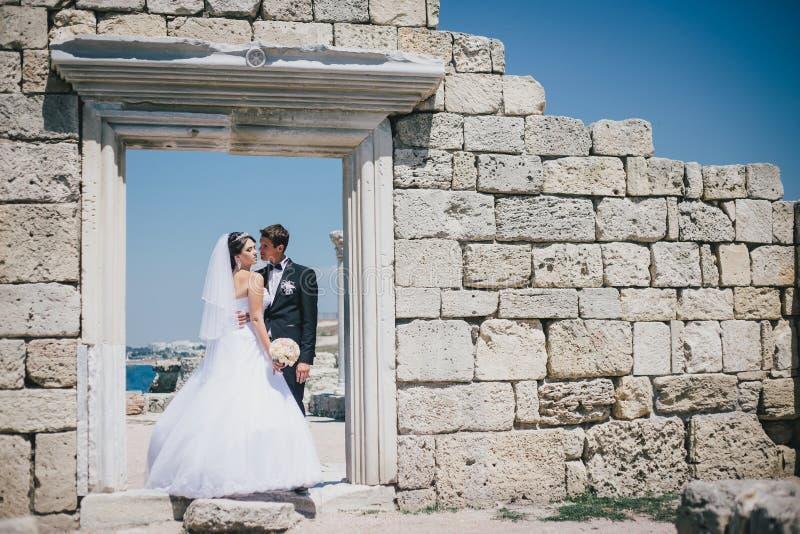 愉快的摆在公园的新娘和新郎 免版税图库摄影