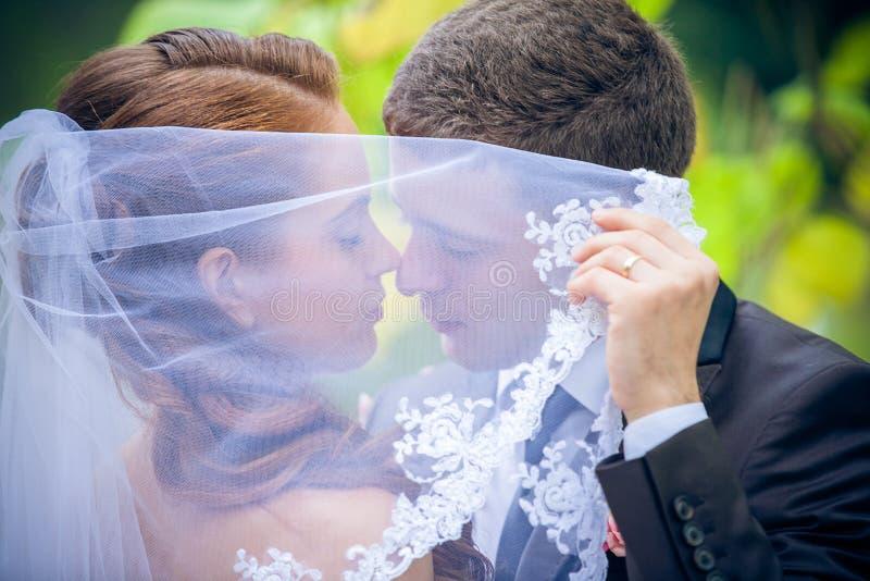 愉快的新娘和新郎 免版税图库摄影