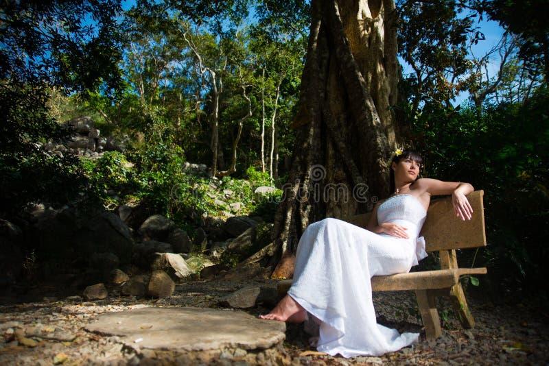 愉快的新娘坐一条长凳在公园 免版税库存照片