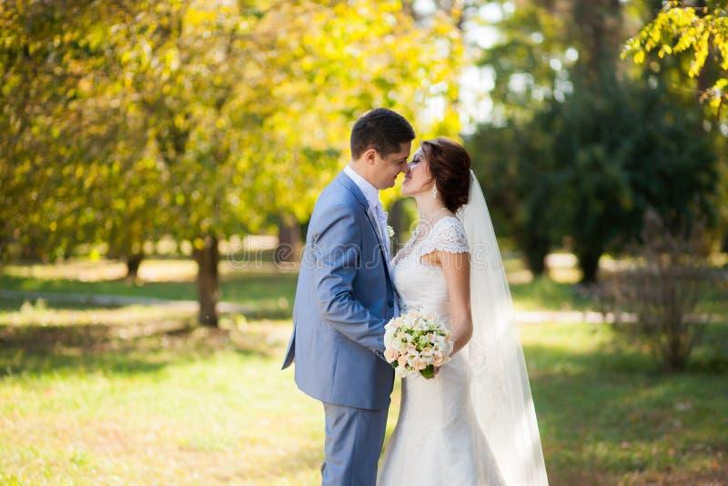 愉快的新娘,新郎跳舞在绿色公园,亲吻,微笑,笑 恋人在婚礼之日 耦合愉快的爱年轻人 库存图片