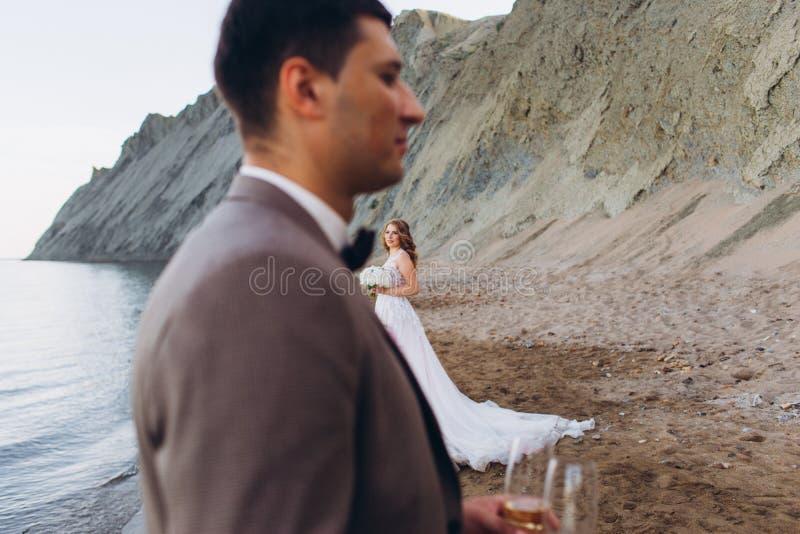 愉快的新婚佳偶夫妇 美丽的新娘和新郎在衣服 库存图片