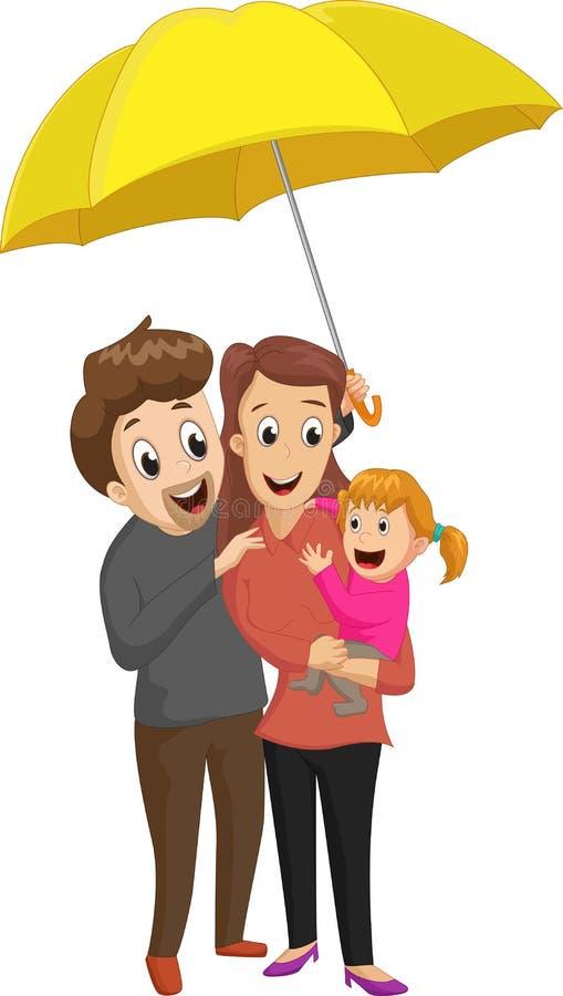 愉快的新的家庭一起小女孩在一把大伞下 皇族释放例证