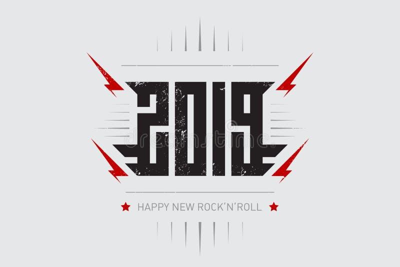 愉快的新的摇滚乐2019年-与风格化题字、红色闪电和星的音乐海报 T恤杉服装凉快的印刷品与 库存例证