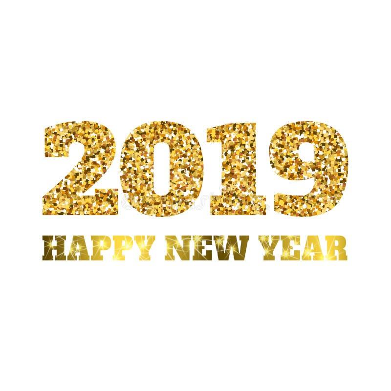 愉快的新的2019年 金子闪烁微粒和闪闪发光 假日传染媒介日历的,党邀请设计元素 向量例证