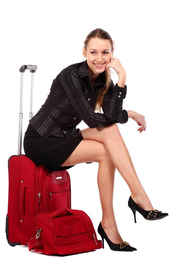 愉快的旅游妇女 免版税库存照片
