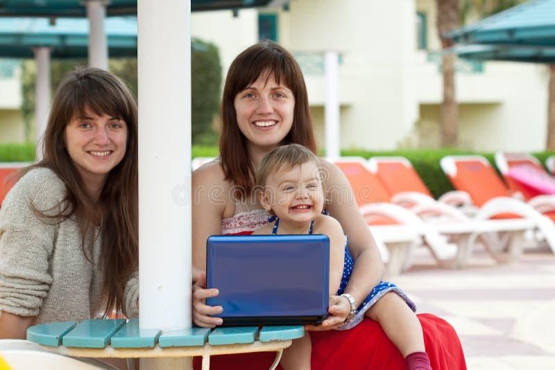 愉快的旅馆膝上型计算机手段妇女 库存图片