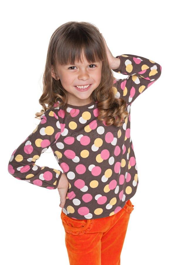 愉快的时尚小女孩 图库摄影