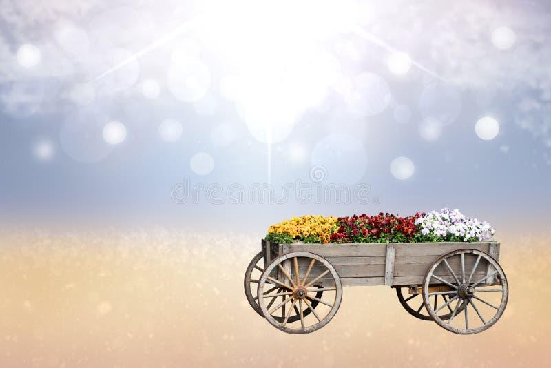 愉快的春天或贺卡构成 装饰老大木推车或无盖货车特写镜头有许多五颜六色的花的 库存图片