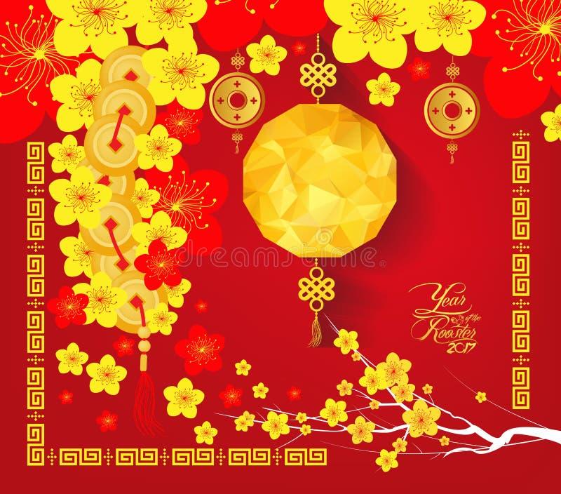 愉快的春节2017卡片,中国灯笼 皇族释放例证