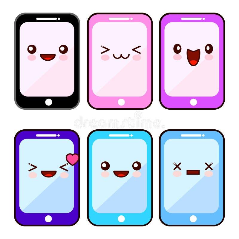 愉快的智能手机漫画人物kawaii集合 有愉快的面孔的流动手机,通信的设备电话 平面 向量例证