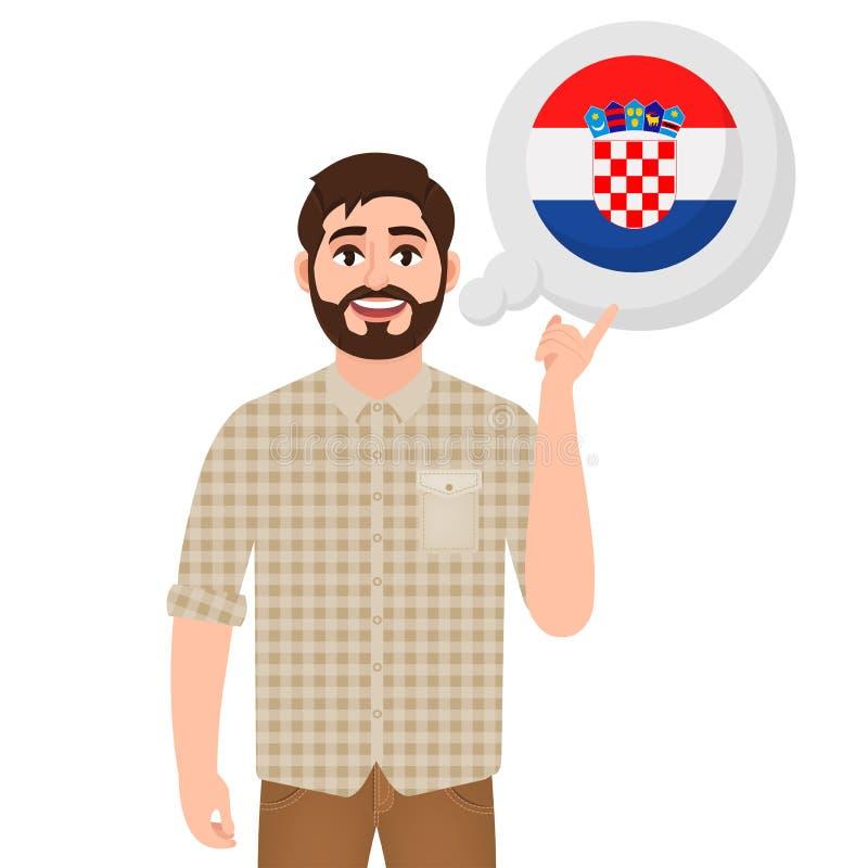 愉快的有胡子的人说或考虑克罗地亚、欧洲国家象、旅客或者游人国家  向量例证