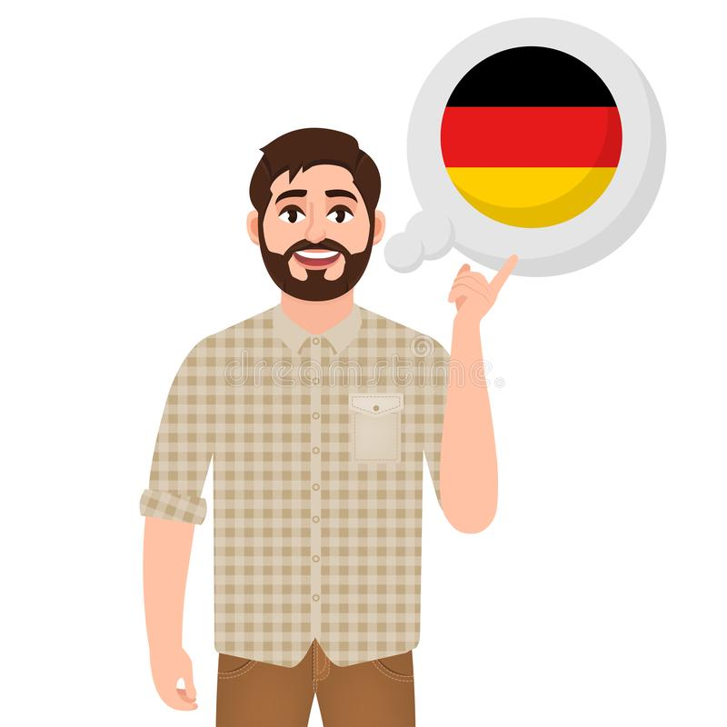 愉快的有胡子的人说或考虑国家德国,欧洲国家象、旅客或者游人 库存例证