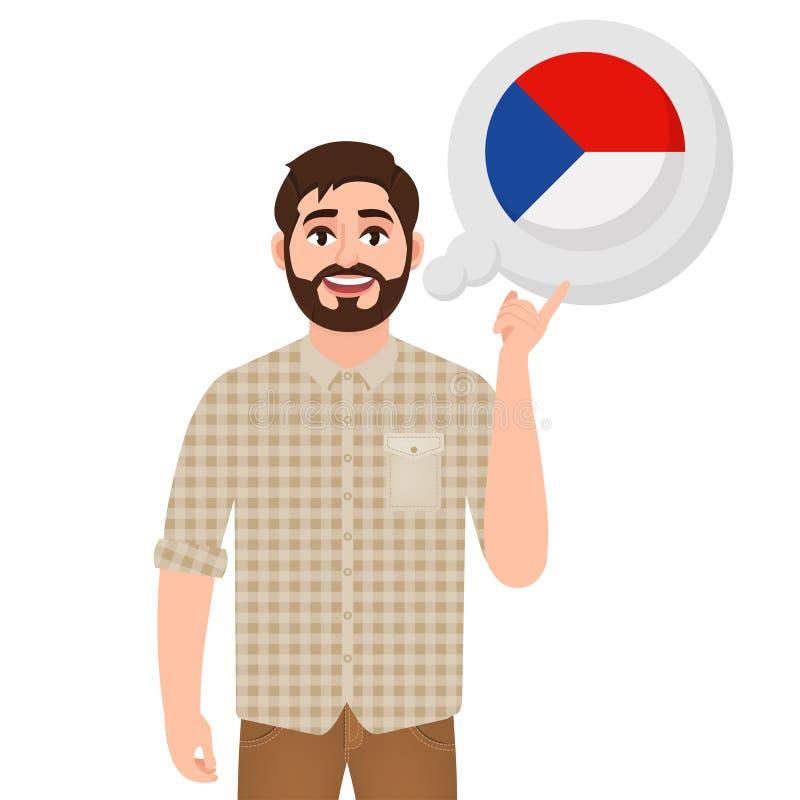 愉快的有胡子的人说或考虑国家捷克,欧洲国家象、旅客或者游人 库存例证