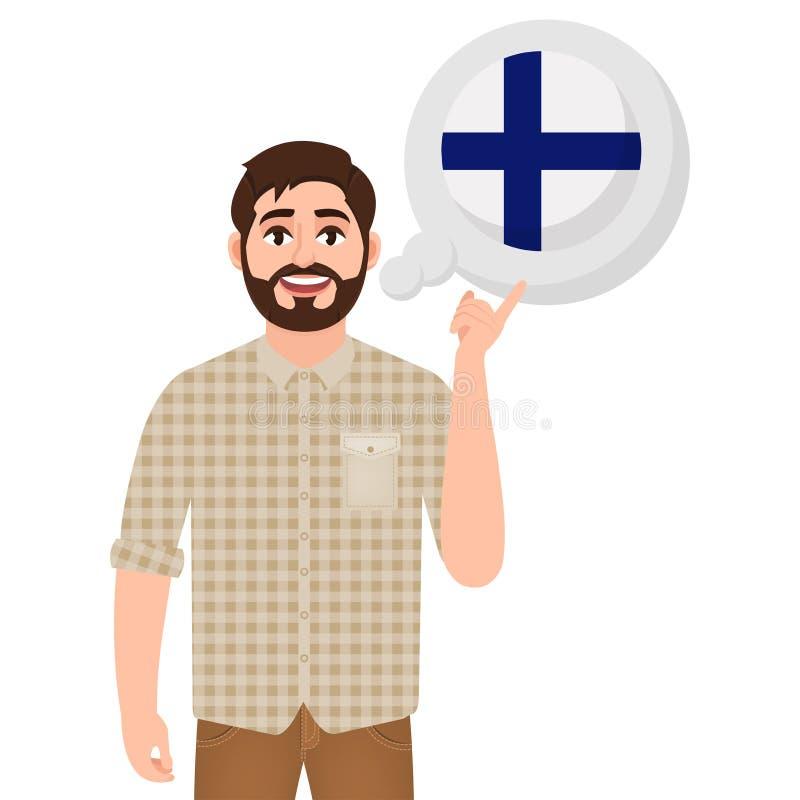 愉快的有胡子的人说或考虑芬兰、欧洲国家象、旅客或者游人国家  库存例证