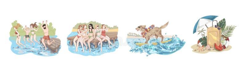 愉快的朋友在度假,人们在水,妇女中跳坐码头,在太阳镜的狗在冲浪板,夏令时集合 皇族释放例证