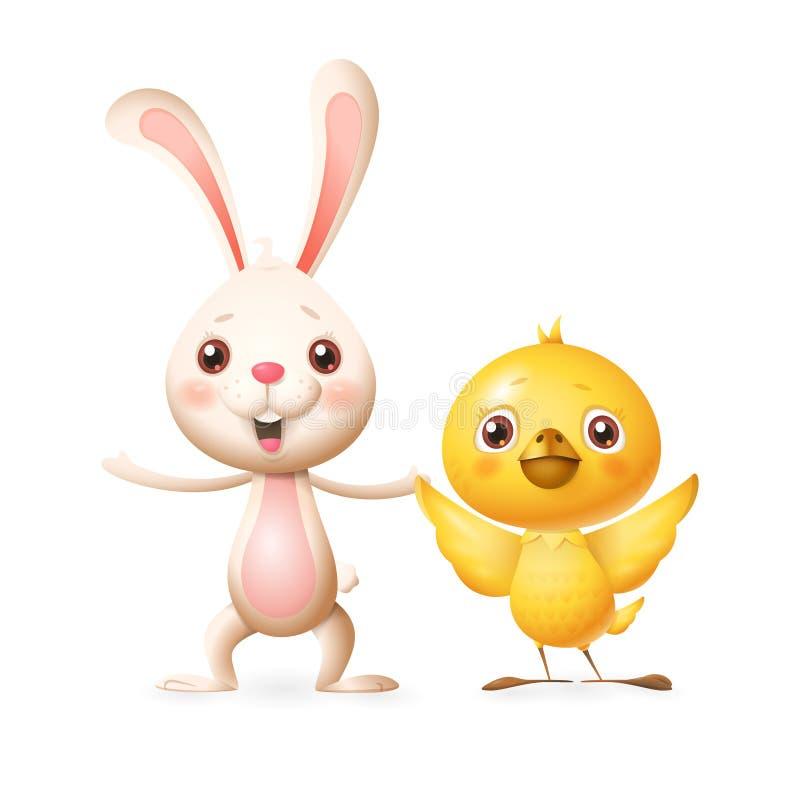 愉快的朋友庆祝的春天或唱歌的复活节兔和的鸡使用和 库存例证