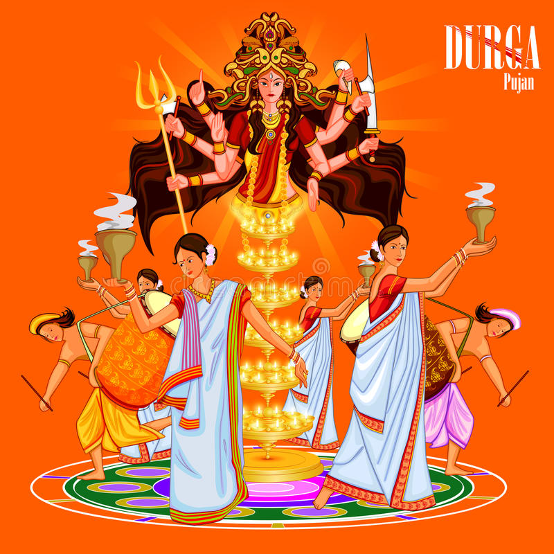 愉快的杜尔加Puja印度节日假日背景 库存例证