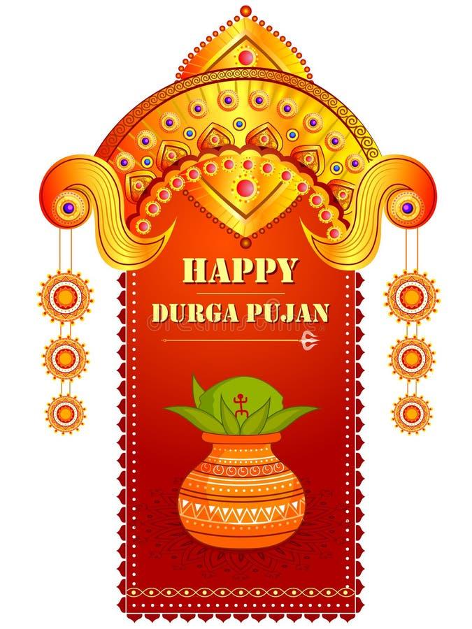 愉快的杜尔加Puja节日背景为印度假日Dussehra 库存例证