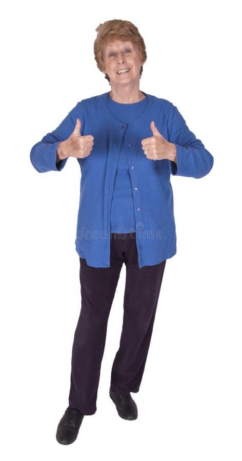 愉快的查出的成熟前辈微笑的白人妇女 免版税图库摄影